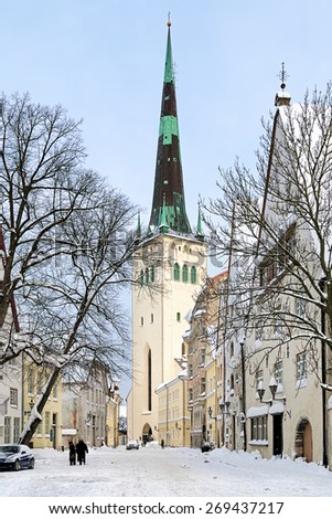 Winter view on the St. Olaf's Church in the Tallinn Old Town, Estonia - stock photo