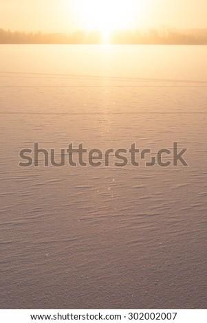 Winter view to frozen lake - stock photo