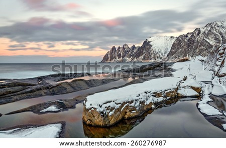 Winter view to Steinfjord on Senja island in the sunset, Troms county - Norway - stock photo