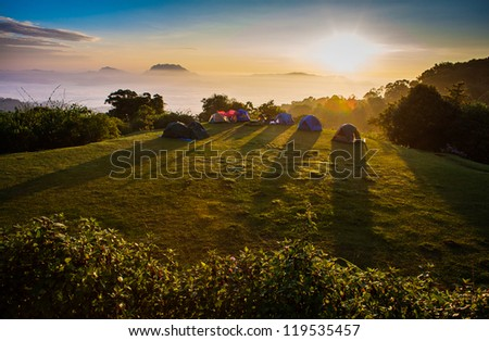 Winter Viewpoint on mountain northern Chiang Mai ,Thailand - stock photo