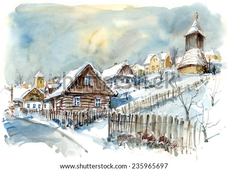 Winter village with a belfry, watercolor illustration - stock photo