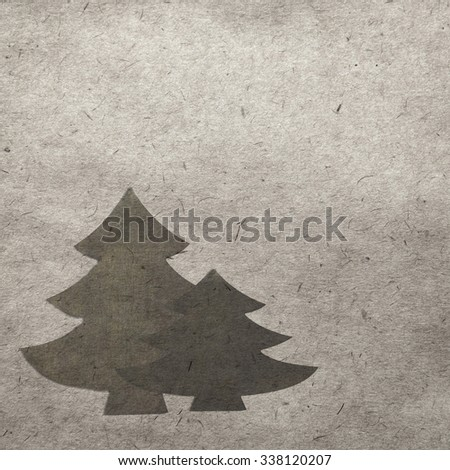 winter vintage background with crhistmas tree - stock photo