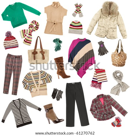 Winter warm lady's clothes on a white background - stock photo