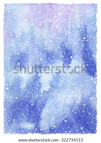 Winter watercolor abstract background with falling snow splash texture and rough artistic edges. Christmas, New Year hand drawn template. White snowflakes, shades of blue watercolour stains. - stock photo