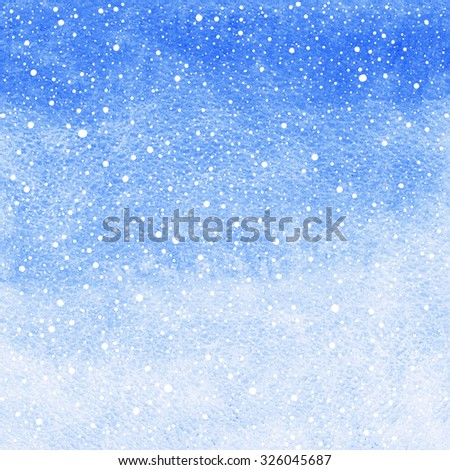 Winter watercolor abstract background  with falling snow splash texture. Christmas, New Year light cobalt blue painted template. Gradient fill. Snowfall texture. Raster version. - stock photo