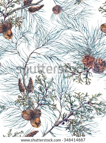 Winter Watercolor Christmas Seamless Pattern with Tree Branches, Fir Cones and Leaves. Natural Hand Painted Illustration on White Background - stock photo