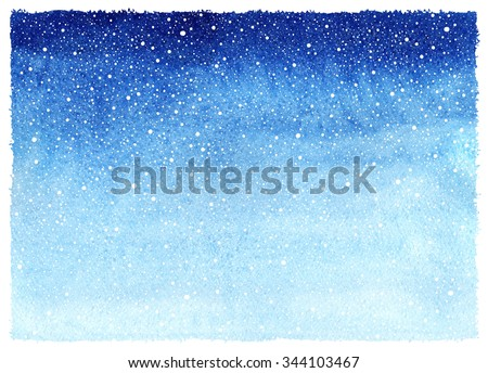 Winter watercolor horizontal gradient background with falling snow splash texture. Christmas, New Year hand drawn template with rough, uneven edges. Shades of blue watercolour stains. - stock photo