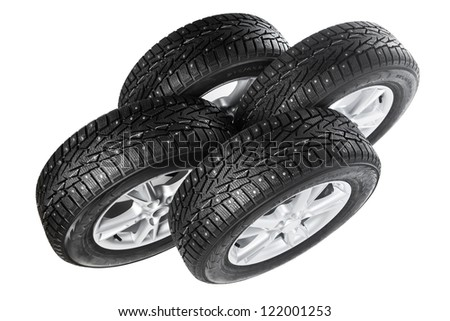winter wheels set isolated on white - stock photo