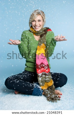 Winter Woman Playing in Snow - stock photo