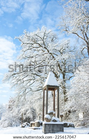 winter wonder land - monument in the snow - stock photo