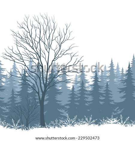 Winter woodland landscape with trees and snowflakes silhouettes. - stock photo
