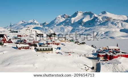 Wintertime in Tasiilaq, Greenland - stock photo