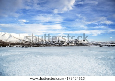 Wintry landscape from Iceland - stock photo