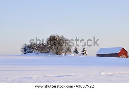 Wintry landscape in Sweden - stock photo