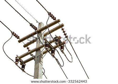 wire cables on electricity pole in the city for safety concept on white background - stock photo