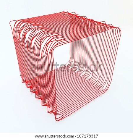 Wire cube red - stock photo