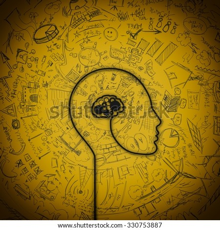 Wire electrical that forms a human brain - stock photo