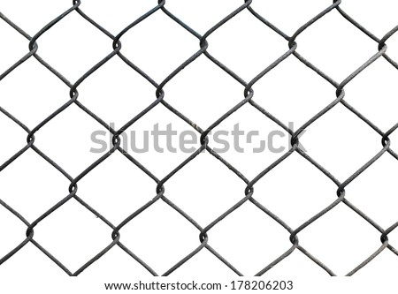 Wire fence isolated on white background - stock photo