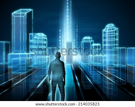 Wire-frame rendering of a modern city. Digital illustration. - stock photo