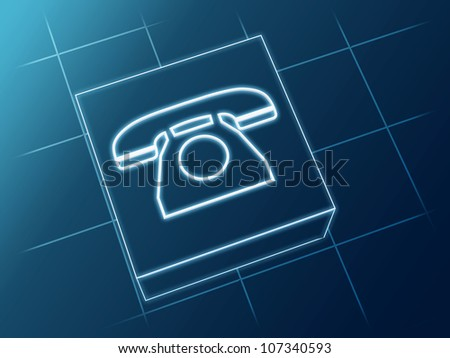 wire glowing Phone sign over box and net - stock photo