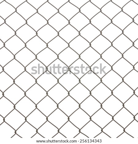 Wire mesh fence isolated on a white background  - stock photo
