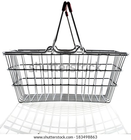 Wire shopping basket isolated on a white background - stock photo