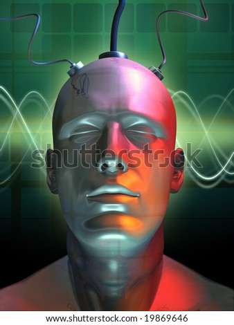 Wired android head. Digital illustration. - stock photo