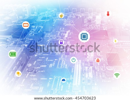 wired icons of various electric component or function and background of electric circuit board look like smart city, abstract image visual - stock photo