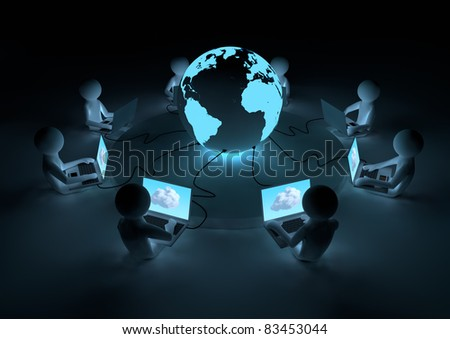 Wired to the cloud - stock photo