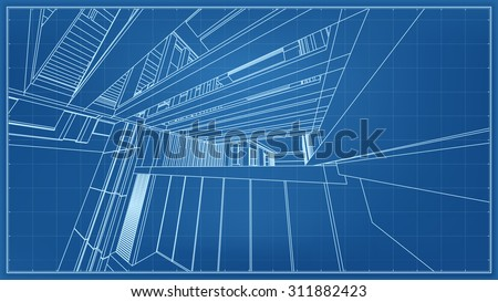 Wireframe blueprint drawing of 3D building space. - stock photo
