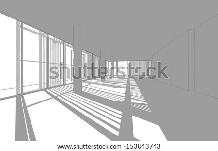 Wireframe interior drawing with shade and shadow, Interior space for design and decoration - stock photo