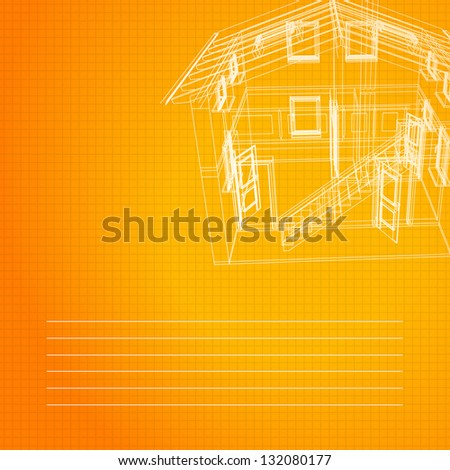 Wireframe of building.  Illustration. - stock photo