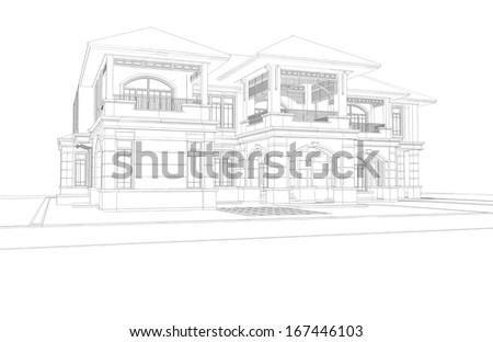 Wireframe perspective of classical house - 3D render of a building - stock photo