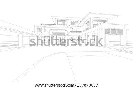 Wireframe perspective of house - 3D render of a building - stock photo