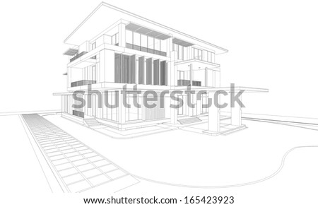 Wireframe perspective of tropical modern house - 3D render of a building - stock photo