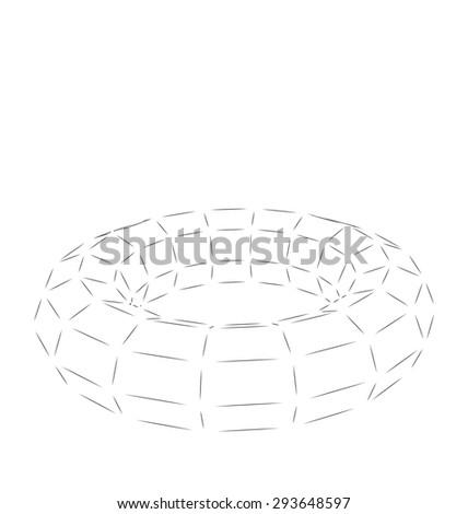 Wireframe polygonal element 3D Torus Isolated on White Background - raster - stock photo