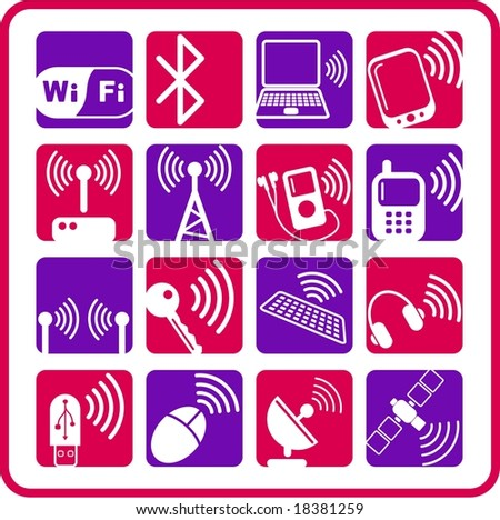 Wireless communications raster iconset. Vector version is available in my portfolio - stock photo