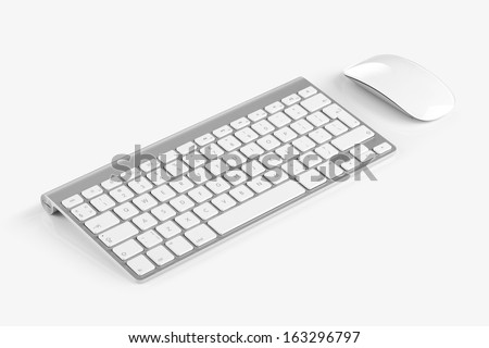 Wireless computer keyboard with the English alphabet and mouse are isolated on white background - stock photo