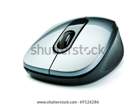wireless computer mouse isolated on white background - stock photo