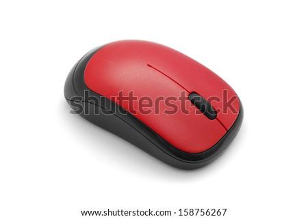 wireless computer mouse on white - stock photo