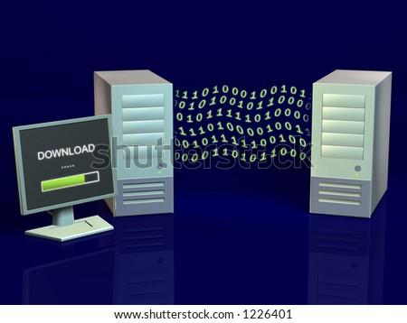 Wireless computer network. CG illustration. - stock photo