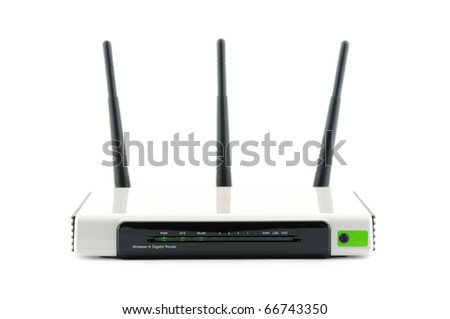 Wireless gigabit broadband router in isolated white background - stock photo