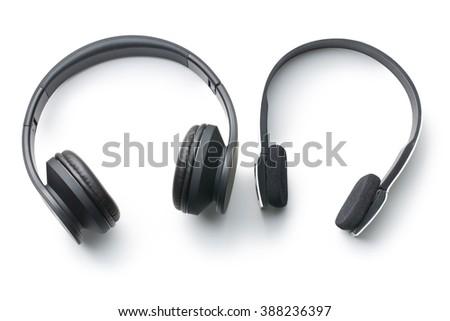 wireless headphones on white background - stock photo