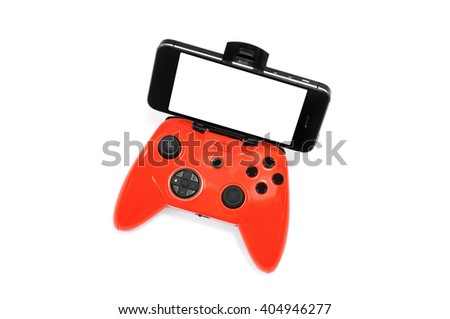 Wireless Mobile Game Controller and smartphone with clipping path for screen isolated on white background. - stock photo