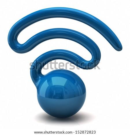 Wireless network blue symbol - stock photo
