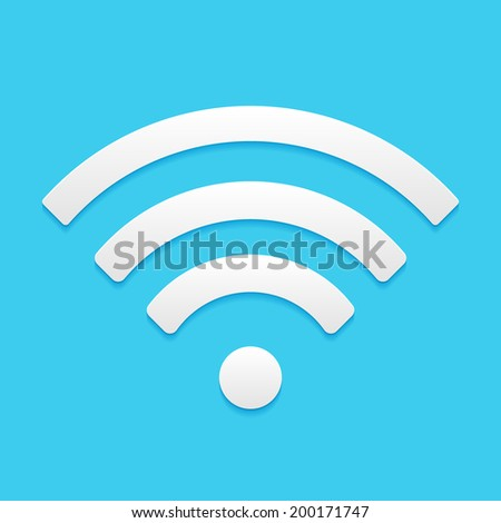 Wireless Network Symbol, flat icon isolated on a blue background for your design - stock photo