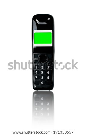 Wireless phone. Cordless phone with green screen display and reflection on white background. - stock photo