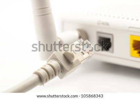 Wireless router for internet connection - stock photo