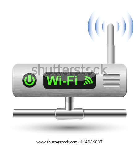 Wireless Router Icon with a LAN connection - stock photo