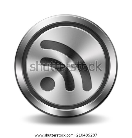 Wireless sign icon. Circular button with metal texture. - stock photo